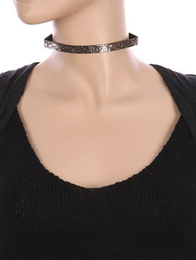 NECKLACE / GLITTER FINISH / FAUX LEATHER CHOKER / 12 INCH LONG / 3/8 INCH DROP / NICKEL AND LEAD COMPLIANT
