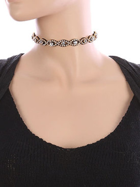 NECKLACE / RHINESTONE / WRAPAROUND CHOKER / CRYSTAL STONE / FAUX SUEDE / MULTI PURPOSE / HAIR ACCESSORY / BELT / 46 INCH LONG / 3/8 INCH DROP / NICKEL AND LEAD COMPLIANT