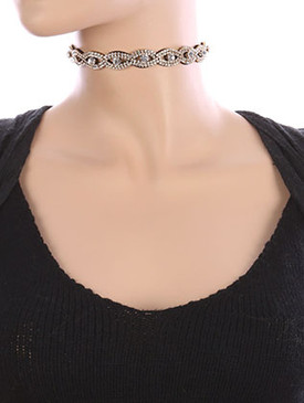 NECKLACE / RHINESTONE / WRAPAROUND CHOKER / CRYSTAL STONE / FAUX SUEDE / MULTI PURPOSE / HAIR ACCESSORY / BELT / 46 INCH LONG / 5/8 INCH DROP / NICKEL AND LEAD COMPLIANT