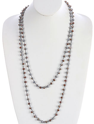 NECKLACE / IRIDESCENT GLASS BEAD / EXTRA LONG WRAPAROUND / KNOTTED YARN / 72 INCH LONG / 1/4 INCH DROP / NICKEL AND LEAD COMPLIANT