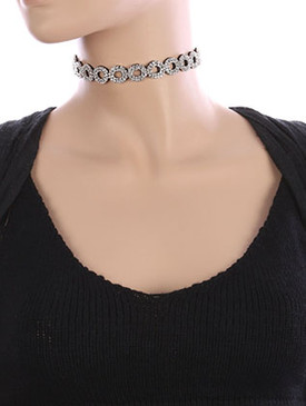 NECKLACE / RHINESTONE / WRAPAROUND CHOKER / FAUX SUEDE / MULTI PURPOSE / HAIR ACCESSORY / BELT / 46 INCH LONG / 5/8 INCH DROP / NICKEL AND LEAD COMPLIANT
