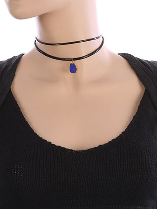 NECKLACE / NATURAL STONE CHARM / FAUX RUBBER CHOKER / METAL SETTING / DOUBLE STRAND / 12 INCH LONG / 7/8 INCH DROP / NICKEL AND LEAD COMPLIANT