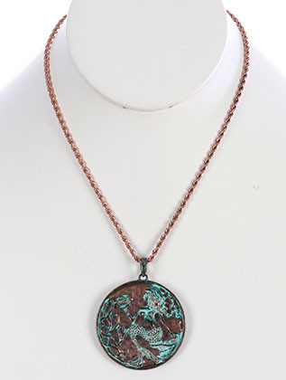 NECKLACE / AGED FINISH METAL / MERMAID MEDALLION / CUTOUT / TEXTURED / TWO TONE / ROPE CHAIN / 18 INCH LONG / 2 3/8 INCH DROP / NICKEL AND LEAD COMPLIANT
