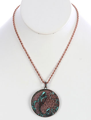 NECKLACE / AGED FINISH METAL / MERMAID MEDALLION / CUTOUT / HAMMERED / TWO TONE / ROPE CHAIN / 18 INCH LONG / 2 3/8 INCH DROP / NICKEL AND LEAD COMPLIANT