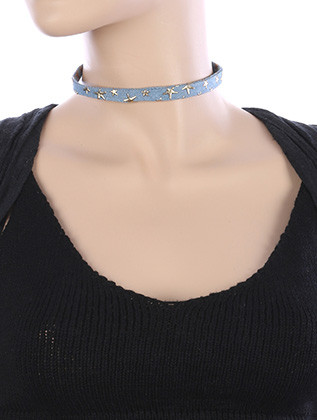 NECKLACE / METALLIC STAR / DENIM FABRIC CHOKER / 12 INCH LONG / 1 INCH DROP / NICKEL AND LEAD COMPLIANT