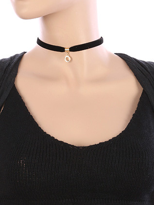NECKLACE / METAL RING CHARM / VELVETY RIBBON CHOKER / 12 INCH LONG / 7/8 INCH DROP / NICKEL AND LEAD COMPLIANT