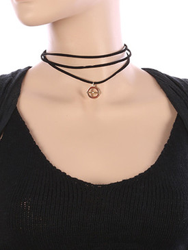 NECKLACE / METAL RING CHARM / FAUX SUEDE CHOKER / THREE LAYER / 12 INCH LONG / 2 1/2 INCH DROP / NICKEL AND LEAD COMPLIANT