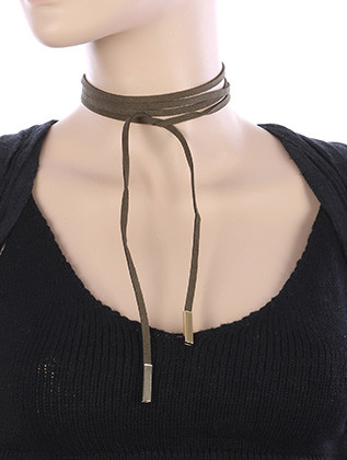 NECKLACE / FAUX SUEDE / WRAPAROUND CHOKER / HOLLOW METALLIC BEAD / 68 INCH LONG / 1 INCH DROP / NICKEL AND LEAD COMPLIANT