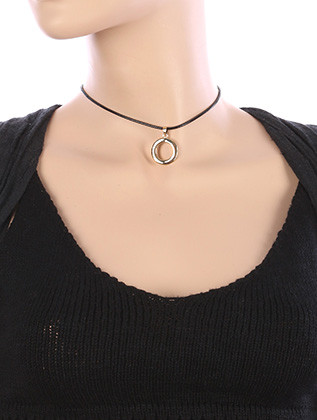 NECKLACE / METAL RING CHARM / CORD CHOKER / 12 INCH LONG / 1 1/8 INCH DROP / NICKEL AND LEAD COMPLIANT