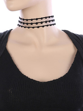 NECKLACE / CROCHET MESH FABRIC / CHOKER / 12 INCH LONG / 1 1/8 INCH DROP / NICKEL AND LEAD COMPLIANT