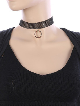 NECKLACE / METAL RING CHARM / MESH FABRIC CHOKER / 12 INCH LONG / 2 INCH DROP / NICKEL AND LEAD COMPLIANT