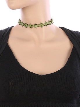 NECKLACE / FLORAL PATTERN CUTOUT / FAUX SUEDE CHOKER / 12 INCH LONG / 5/8 INCH DROP / NICKEL AND LEAD COMPLIANT