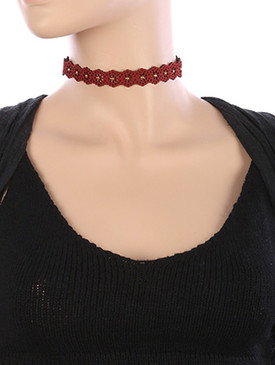 NECKLACE / FLORAL PATTERN CUTOUT / FAUX SUEDE CHOKER / METALLIC STUD / 12 INCH LONG / 5/8 INCH DROP / NICKEL AND LEAD COMPLIANT