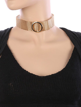 NECKLACE / METAL RING / MESH CHAIN CHOKER / 12 INCH LONG / 1 1/3 INCH DROP / NICKEL AND LEAD COMPLIANT