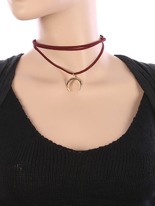 NECKLACE / METAL CRESCENT CHARM / FAUX SUEDE CHOKER / THREE LAYER / 12 INCH LONG / 2 1/2 INCH DROP / NICKEL AND LEAD COMPLIANT