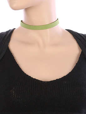 NECKLACE / FAUX SUEDE / CHOKER / 12 INCH LONG / 3/8 INCH DROP / NICKEL AND LEAD COMPLIANT