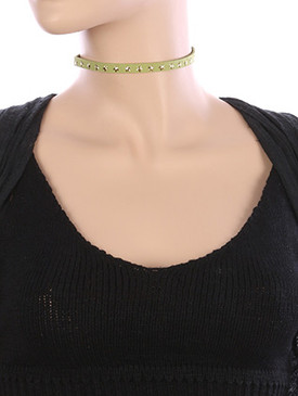 NECKLACE / STAR METALLIC STUD / FAUX SUEDE CHOKER / 12 INCH LONG / 1/3 INCH DROP / NICKEL AND LEAD COMPLIANT
