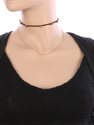 NECKLACE / CHAIN DRAPE / FAUX SUEDE CHOKER / TRIANGULAR METALLIC BEAD / 12 INCH LONG / 4 INCH DROP / NICKEL AND LEAD COMPLIANT