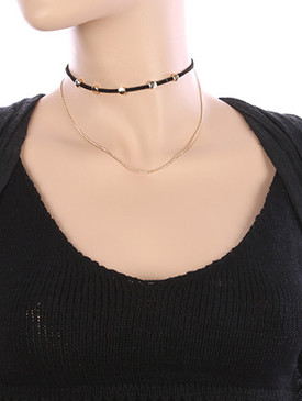NECKLACE / CHAIN DRAPE / FAUX SUEDE CHOKER / ROUND METALLIC BEAD / 12 INCH LONG / 4 INCH DROP / NICKEL AND LEAD COMPLIANT