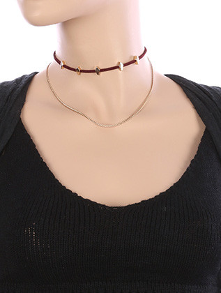 NECKLACE / CHAIN DRAPE / FAUX SUEDE CHOKER / RHOMBUS METALLIC BEAD / 12 INCH LONG / 4 INCH DROP / NICKEL AND LEAD COMPLIANT