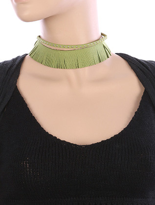 NECKLACE / 2 PC FRINGED / FAUX SUEDE CHOKER / METALLIC STUD / CHAIN DRAPE / 12 INCH LONG / 1 1/4 INCH DROP / NICKEL AND LEAD COMPLIANT