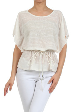 Textured Jacquard Top with Flutter Sleeves and Elasticized Waist - Ivory