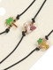 Necklace / 3 Pc / Tropical Choker / Epoxy Coated Metal / Palmtree / Pink Flamingo / Pineapple / Crystal Stone / Metallic Bead / Faux Rubber Cord / 12 Inch Long / 1/2 Inch Drop / Nickel And Lead Compliant