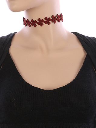NECKLACE / FLORAL CUTOUT / FAUX SUEDE CHOKER / 12 INCH LONG / 3/4 INCH DROP / NICKEL AND LEAD COMPLIANT