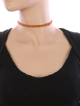 NECKLACE / METALLIC STUD / SUEDE CHOKER / 12 INCH LONG / 1/4 INCH DROP / NICKEL AND LEAD COMPLIANT