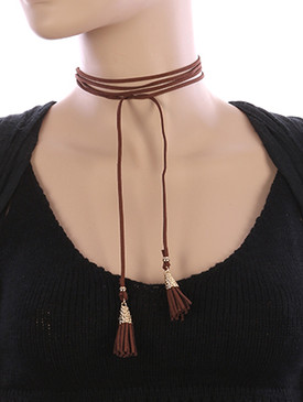 NECKLACE / FAUX SUEDE / WRAPAROUND CHOKER / TASSEL / HAMMERED / METALLIC BEAD / 68 INCH LONG / 2 INCH DROP / NICKEL AND LEAD COMPLIANT