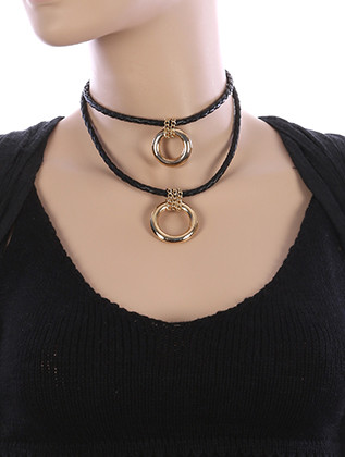 NECKLACE / DOUBLE RING CHARM / FAUX LEATHER CHOKER / BRAIDED / CHAIN WRAPPED / TWO LAYER / 10 INCH LONG / 3 INCH DROP / NICKEL AND LEAD COMPLIANT