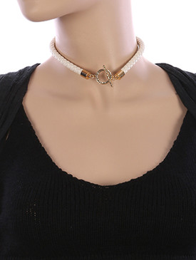 NECKLACE / BRAIDED / FAUX LEATHER CHOKER / HAMMERED METAL / TOGGLE CLOSURE / 12 INCH LONG / 1 INCH DROP / NICKEL AND LEAD COMPLIANT