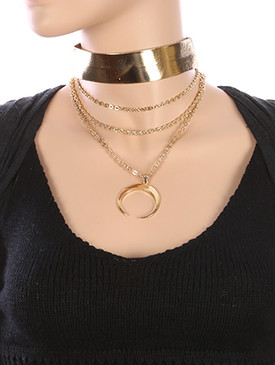 NECKLACE / THREE LAYER CHAIN / METALLIC RIBBON CHOKER / METAL CRESCENT / 12 INCH LONG / 8 INCH DROP / NICKEL AND LEAD COMPLIANT