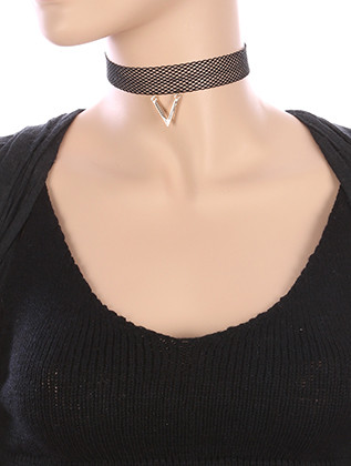 NECKLACE / METAL V CHARM / MESH FABRIC CHOKER / 12 INCH LONG / 1 3/4 INCH DROP / NICKEL AND LEAD COMPLIANT