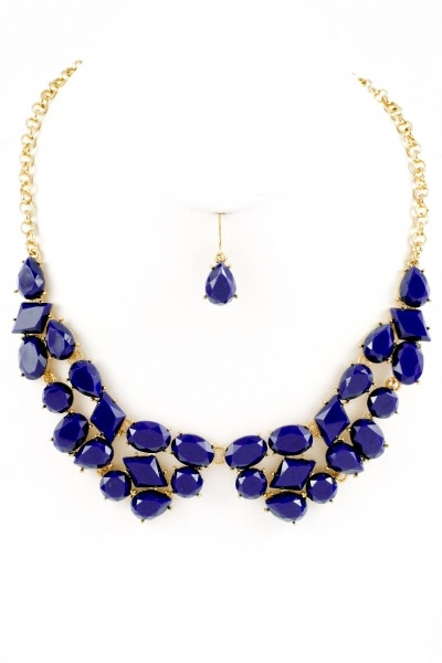 Touchback Necklace and Earring Set - Navy