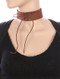 NECKLACE / LACED FRONT / FAUX SUEDE CHOKER / METAL EYELET / 12 INCH LONG / 1 1/2 INCH DROP / NICKEL AND LEAD COMPLIANT