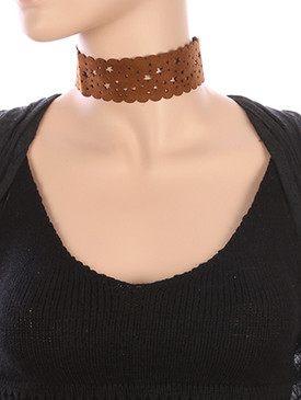 NECKLACE / STAR CUTOUT / FAUX SUEDE CHOKER / SCALLOPED / 12 INCH LONG / 1 1/2 INCH DROP / NICKEL AND LEAD COMPLIANT