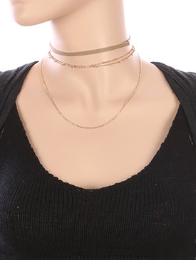 NECKLACE / 2 PC / FAUX LEATHER CHOKER / MULTI CHAIN / 12 INCH LONG / 4 INCH DROP / NICKEL AND LEAD COMPLIANT