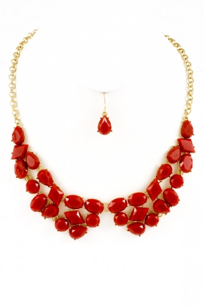 Touchback Necklace and Earring Set - Red