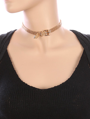 NECKLACE / BELT SHAPE / MESH CHAIN CHOKER / 12 INCH LONG / 2/3 INCH DROP / NICKEL AND LEAD COMPLIANT