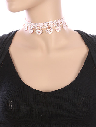 NECKLACE / CROCHET FABRIC / LACE CHOKER / 12 INCH LONG / 1 1/8 INCH DROP / NICKEL AND LEAD COMPLIANT