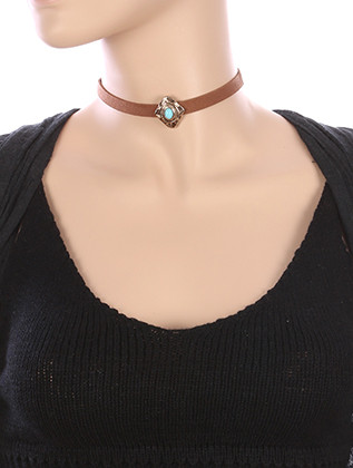 NECKLACE / NATURAL STONE CHARM / FAUX SUEDE CHOKER / AGED FINISH METAL / TRIBAL PATTERN ETCHED / 12 INCH LONG / 1 INCH DROP / NICKEL AND LEAD COMPLIANT