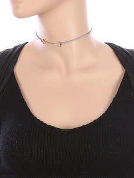 NECKLACE / CURVED METAL / FAUX LEATHER CHOKER / PAVE CRYSTAL STONE / 12 INCH LONG / 1/3 INCH DROP / NICKEL AND LEAD COMPLIANT