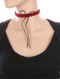 Necklace / Floral Pattern Cutout / Faux Suede Choker / Long Strand Bow / 12 Inch Long / 6 1/2 Inch Drop / Nickel And Lead Compliant