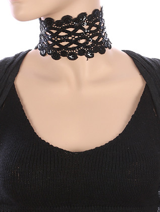 NECKLACE / CROCHET FABRIC / SEQUIN LACE CHOKER / 12 INCH LONG / 3 INCH DROP / NICKEL AND LEAD COMPLIANT
