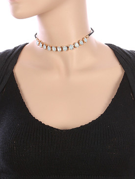 NECKLACE / OVAL CUT / GLASS STONE CHOKER / BRAIDED FAUX LEATHER / METAL SETTING / 12 INCH LONG / 1/3 INCH DROP / NICKEL AND LEAD COMPLIANT