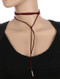 NECKLACE / FAUX SUEDE / WRAPAROUND CHOKER / 68 INCH LONG / 3/4 INCH DROP / NICKEL AND LEAD COMPLIANT