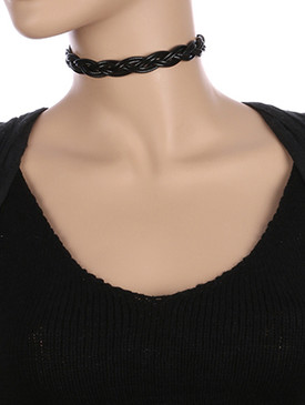 NECKLACE / BRAIDED / RUBBER CORD CHOKER / 12 INCH LONG / 5/8 INCH DROP / NICKEL AND LEAD COMPLIANT