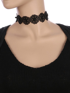 NECKLACE / SHEER FABRIC FLOWER / CHOKER / LUCITE BEAD / 12 INCH LONG / 1 1/4 INCH DROP / NICKEL AND LEAD COMPLIANT