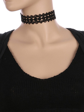NECKLACE / CROCHET LACE / CHOKER / 12 INCH LONG / 1 1/8 INCH DROP / NICKEL AND LEAD COMPLIANT
